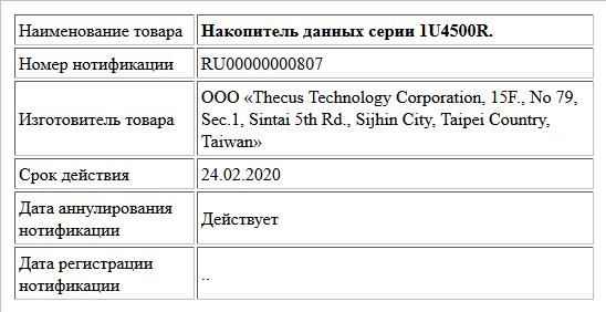 Накопитель данных серии 1U4500R.