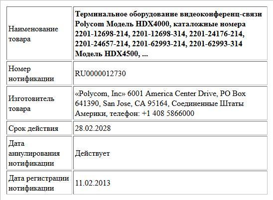Терминальное оборудование видеоконференц-связи Polycom Модель HDX4000, каталожные номера 2201-12698-214, 2201-12698-314, 2201-24176-214, 2201-24657-214, 2201-62993-214, 2201-62993-314 Модель HDX4500, ...