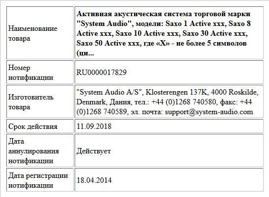 Активная акустическая система торговой марки