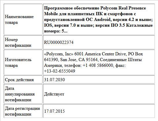 Программное обеспечение  Polycom Real Presence Mobile для планшетных ПК и смартфонов с предустановленной ОС Android, версии 4.2 и  выше; IOS, версии 7.0 и выше; версия ПО 3.5 Каталожные номера:  5...