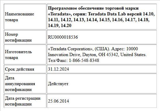 Программное обеспечение торговой марки «Teradata», серии: Teradata Data Lab версий 14.10, 14.11, 14.12, 14.13, 14.14, 14.15, 14.16, 14.17, 14.18, 14.19, 14.20