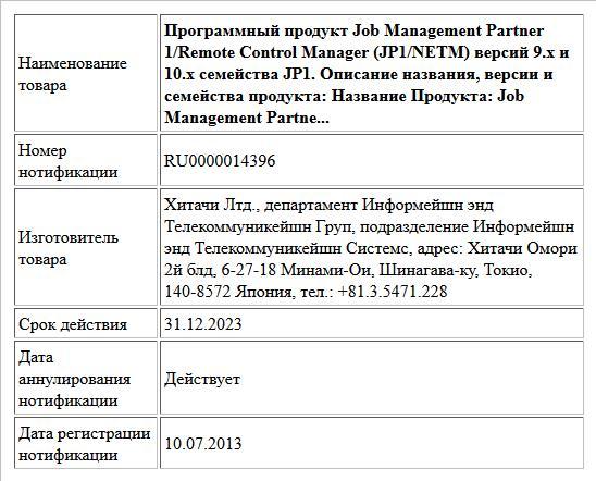 Программный продукт Job Management Partner 1/Remote Control Manager (JP1/NETM) версий 9.x и 10.x семейства JP1. Описание названия, версии и семейства продукта: Название Продукта: Job Management Partne...