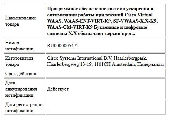 Программное обеспечение система ускорения и оптимизации работы приложений Cisco Virtual WAAS, WAAS-ENT-VIRT-K9, SF-VWAAS-X.X-K9, WAAS-CM-VIRT-K9 Буквенные и цифровые символы X.X обозначают версии прог...