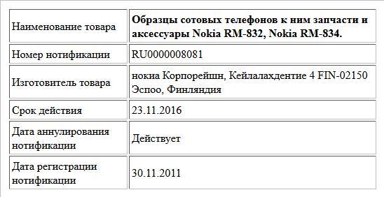 Образцы сотовых телефонов к ним запчасти и аксессуары Nokia RM-832, Nokia RM-834.