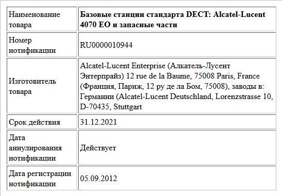 Базовые станции стандарта DECT: Alcatel-Lucent 4070 EO и запасные части
