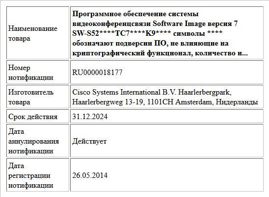 Программное обеспечение системы видеоконференцсвязи  Software Image версия 7 SW-S52****TC7****K9**** символы **** обозначают подверсии ПО, не влияющие на криптографический функционал, количество и...