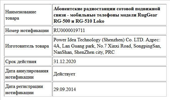 Абонентские радиостанции сотовой подвижной связи - мобильные телефоны модели RugGear RG-500 и RG-510 Loko