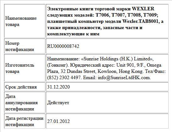 Электронные книги торговой марки WEXLER следующих моделей: Т7006, Т7007, Т7008, Т7009; планшетный компьютер модели Wexler.TAB8001, а также принадлежности, запасные части и комплектующие к ним