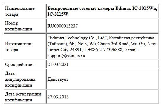 Беспроводные сетевые камеры Edimax IC-3015Wn, IC-3115W