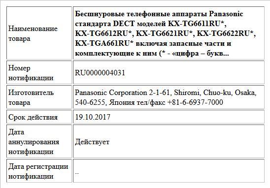 Бесшнуровые телефонные аппараты Panasonic стандарта DECT моделей KX-TG6611RU*, KX-TG6612RU*, KX-TG6621RU*,  KX-TG6622RU*, KX-TGA661RU* включая запасные части и комплектующие к ним  (* - «цифра – букв...