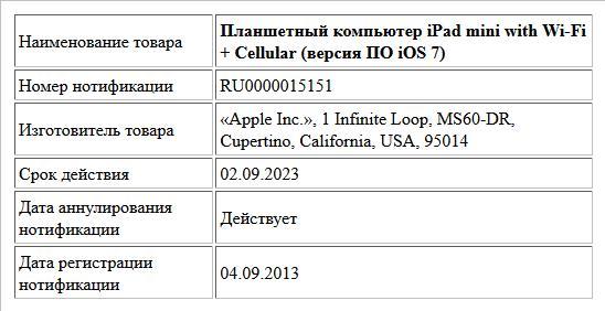 Планшетный компьютер iPad mini with Wi-Fi + Cellular (версия ПО iOS 7)