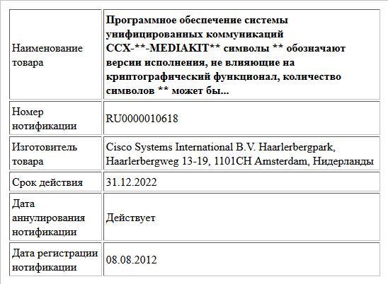 Программное обеспечение системы унифицированных коммуникаций CCX-**-MEDIAKIT** символы ** обозначают версии исполнения, не влияющие на криптографический  функционал, количество символов ** может бы...