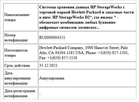 Системы хранения данных HP StorageWorks с торговой маркой Hewlett-Packard и запасные части к ним: HP StorageWorks D2*, где индекс * - обозначает комбинацию любых буквенно-цифровых символов латинског...