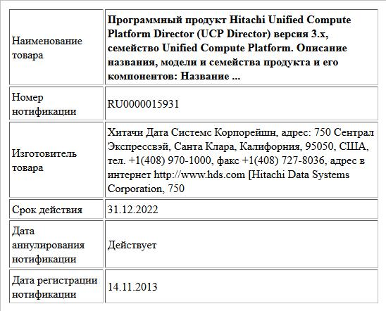 Программный продукт Hitachi Unified Compute Platform Director (UCP Director) версия 3.х, семейство Unified Compute Platform. Описание названия, модели и семейства продукта и его компонентов: Название ...