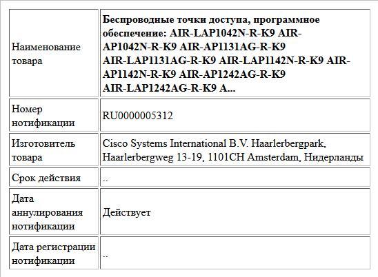 Беспроводные точки доступа, программное обеспечение: AIR-LAP1042N-R-K9 AIR- AP1042N-R-K9 AIR-AP1131AG-R-K9 AIR-LAP1131AG-R-K9 AIR-LAP1142N-R-K9 AIR- AP1142N-R-K9 AIR-AP1242AG-R-K9 AIR-LAP1242AG-R-K9 A...