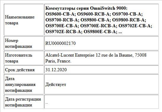 Коммутаторы серии OmniSwitch 9000: OS9600-CB-A; OS9600-RCB-A; OS9700-CB-A; OS9700-RCB-A; OS9800-CB-A; OS9800-RCB-A; OS9700E-CB-A; OS9700E-RCB-A; OS9702E-CB-A; OS9702E-RCB-A; OS9800E-CB-A; ...