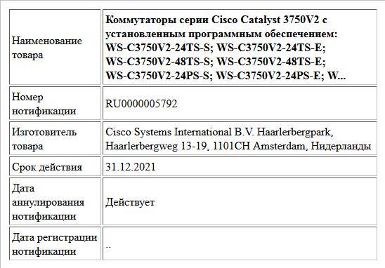 Коммутаторы серии Cisco Catalyst 3750V2 с установленным программным обеспечением: WS-C3750V2-24TS-S; WS-C3750V2-24TS-E; WS-C3750V2-48TS-S; WS-C3750V2-48TS-E; WS-C3750V2-24PS-S; WS-C3750V2-24PS-E; W...