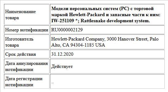 Модели персональных систем (PC) с торговой маркой Hewlett-Packard и запасные части к ним: IW-251109 *; Rattlesnake development system.