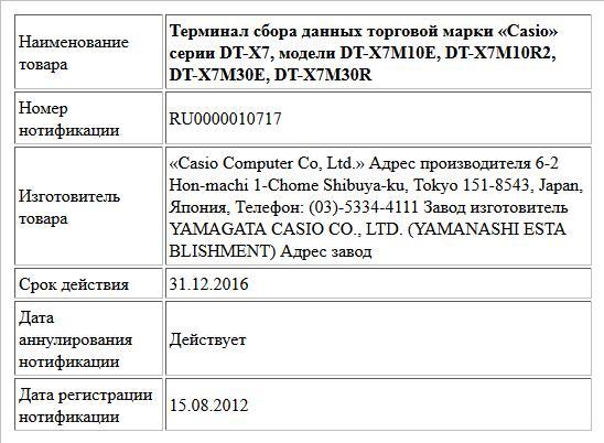Терминал сбора данных торговой марки «Casio» серии DT-X7, модели DT-X7M10E, DT-X7M10R2, DT-X7M30E, DT-X7M30R