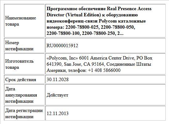 Программное обеспечение Real Presence Access Director (Virtual Edition) к оборудованию видеоконференц-связи Polycom каталожные номера: 2200-78800-025, 2200-78800-050, 2200-78800-100, 2200-78800-250, 2...