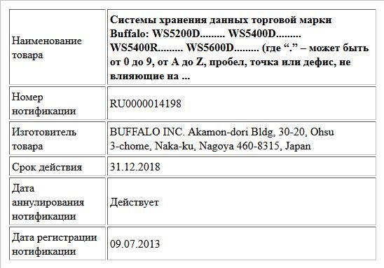 """Системы хранения данных торговой марки Buffalo: WS5200D......... WS5400D......... WS5400R......... WS5600D......... (где """"."""" – может быть от 0 до 9, от A до Z, пробел, точка или дефис, не влияющие на ..."""
