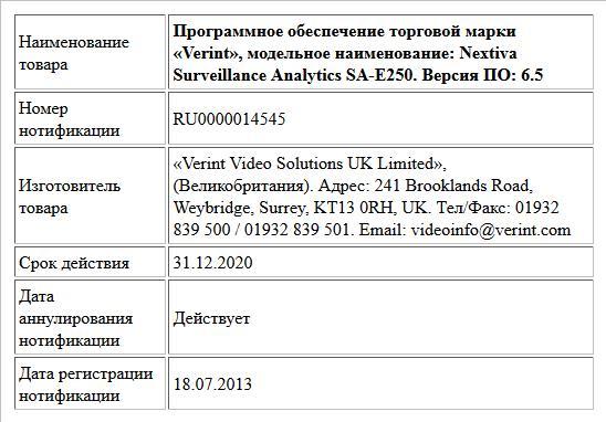 Программное обеспечение торговой марки «Verint», модельное наименование: Nextiva Surveillance Analytics SA-E250. Версия ПО: 6.5