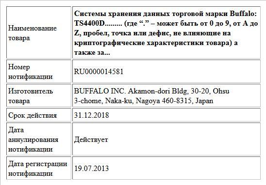 """Системы хранения данных торговой марки Buffalo: TS4400D......... (где """"."""" – может быть от 0 до 9, от A до Z, пробел, точка или дефис, не влияющие на криптографические характеристики товара) а также за..."""