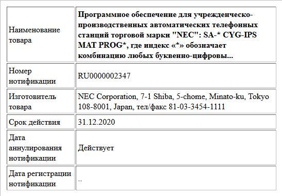 Программное обеспечение для учрежденческо-производственных автоматических телефонных станций торговой марки