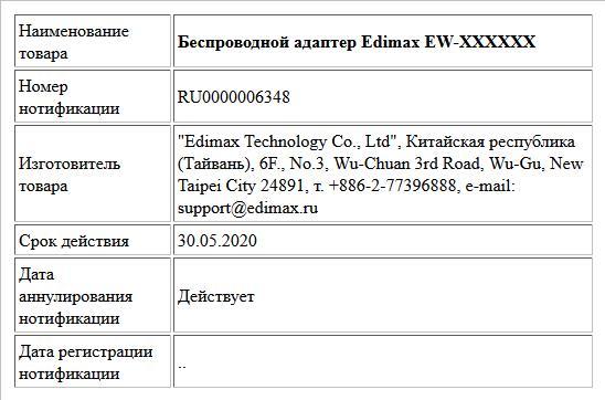 Беспроводной адаптер Edimax EW-XXXXXX