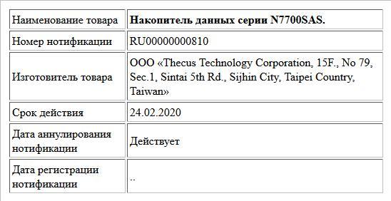 Накопитель данных серии N7700SAS.