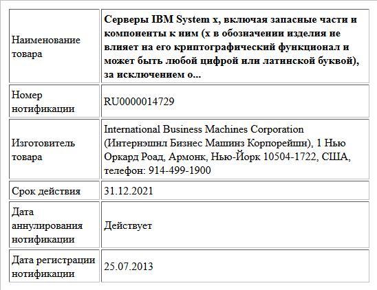 Серверы IBM System x, включая запасные части и компоненты к ним (x в обозначении изделия не влияет на его криптографический функционал и может быть любой цифрой или латинской буквой), за исключением о...