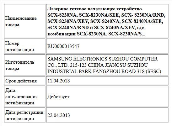 Лазерное сетевое печатающее устройство SCX-8230NA, SCX-8230NA/SEE, SCX- 8230NA/RND, SCX-8230NA/XEV, SCX-8240NA, SCX-8240NA/SEE, SCX-8240NA/RND и SCX-8240NA/XEV, где комбинации SCX-8230NA, SCX-8230NA/S...