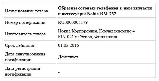 Образцы сотовых телефонов к ним запчасти и аксессуары Nokia RM-732