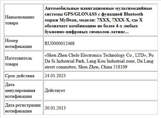 Автомобильные навигационные мультимедийные системы GPS/GLONASS c функцией Bluetooth марки MyDean, модели: 7XXX, 7XXX-X, где Х обозначает комбинацию не более 4-х любых буквенно-цифровых символов латинс...