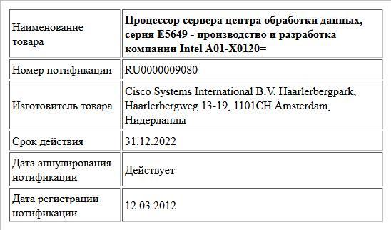 Процессор сервера центра обработки данных, серия E5649 - производство и разработка компании Intel A01-X0120=
