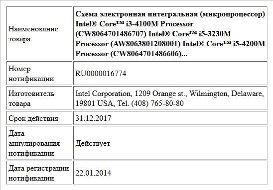 Схема электронная интегральная (микропроцессор) Intel® Core™ i3-4100M Processor (CW8064701486707) Intel® Core™ i5-3230M Processor (AW8063801208001) Intel® Core™ i5-4200M Processor (CW8064701486606)...