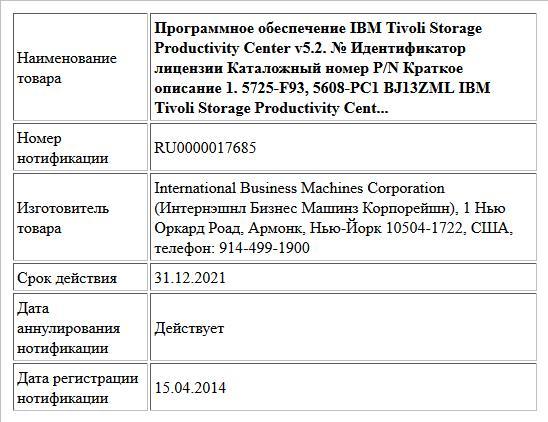 Программное обеспечение IBM Tivoli Storage Productivity Center v5.2. № Идентификатор лицензии Каталожный номер P/N Краткое описание 1. 5725-F93, 5608-PC1 BJ13ZML IBM Tivoli Storage Productivity Cent...