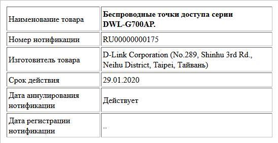 Беспроводные точки доступа серии DWL-G700AP.