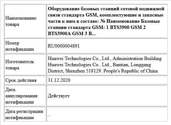 Оборудование базовых станций сотовой подвижной связи стандарта GSM, комплектующие и запасные части к ним в составе: № Наименование  Базовые станции стандарта GSM: 1 BTS3900 GSM 2 BTS3900A GSM 3 B...