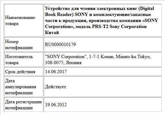 Устройство для чтения электронных книг (Digital Book Reader) SONY и комплектующие/запасные части к продукции, производства компании «SONY Corporation», модель PRS-T2 Sony Corporation Китай