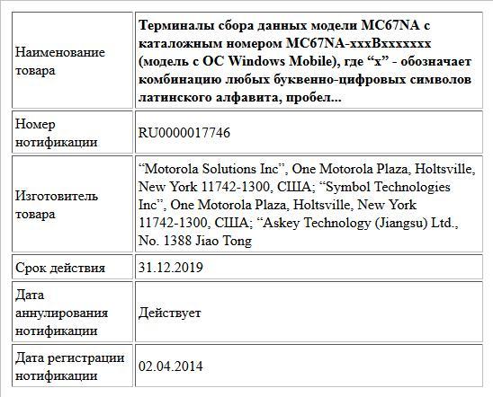 """Терминалы сбора данных модели MC67NA с каталожным номером MC67NA-xxxBxxxxxxx (модель с ОС Windows Mobile), где """"x"""" - обозначает комбинацию любых буквенно-цифровых символов латинского алфавита, пробело..."""