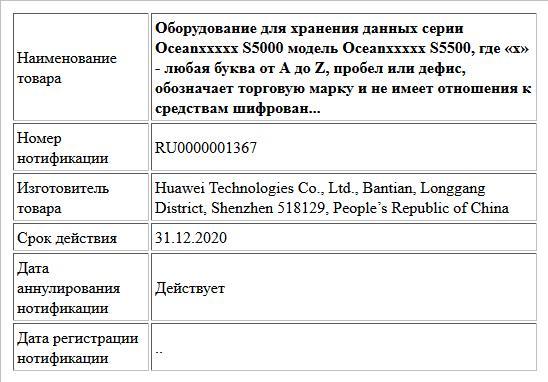 Оборудование для хранения данных серии Oceanххххх S5000 модель Oceanххххх S5500,  где «х» - любая буква от A до Z, пробел или дефис, обозначает торговую марку и не имеет отношения к средствам шифрован...