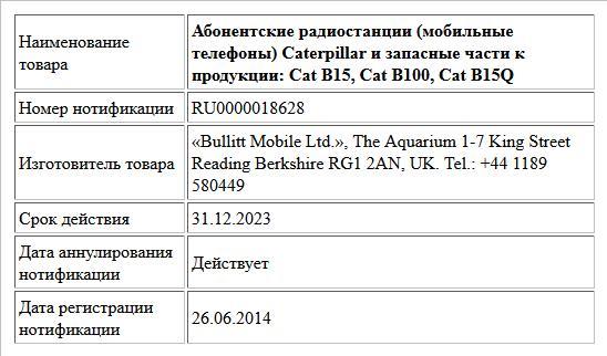Абонентские радиостанции (мобильные телефоны) Caterpillar и запасные части к продукции: Cat B15, Cat B100, Cat B15Q