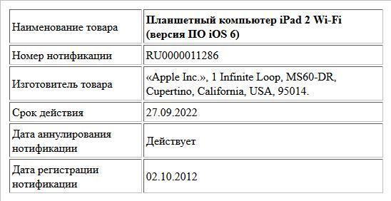 Планшетный компьютер iPad 2 Wi-Fi (версия ПО iOS 6)