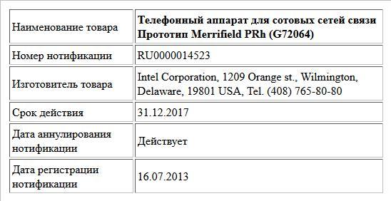 Телефонный аппарат для сотовых сетей связи Прототип Merrifield PRh (G72064)
