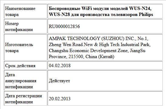 Беспроводные WiFi модули моделей WUS-N24, WUS-N28 для производства телевизоров Philips