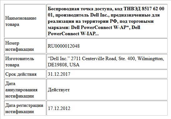 Беспроводная точка доступа, код ТНВЭД 8517 62 00 01, производитель Dell Inc., предназначенные для реализации на территории РФ, под торговыми марками: Dell PowerConnect W-AP*, Dell PowerConnect W-IAP...