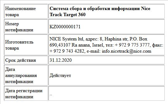 Система сбора и обработки информации Nice Track Target 360