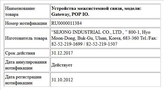 Устройства межсистемной связи, модели: Gateway, POP IO.
