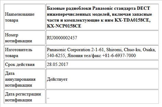 Базовые радиоблоки Panasonic стандарта DECT нижеперечисленных моделей, включая запасные части и  комплектующие к ним KX-TDA0158CE, KX-NCP0158CE